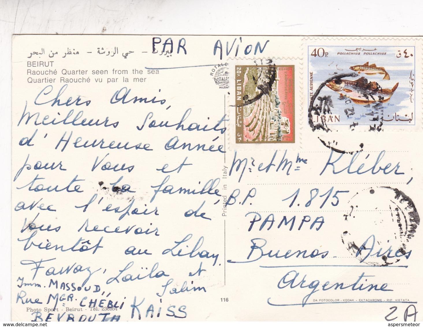 BEIRUT. RAOUCHE QUARTER SEEN FROM THE SEA. ROTALCOLOR. CIRCULEE 1964 A BUENOS AIRES - BLEUP - Liban