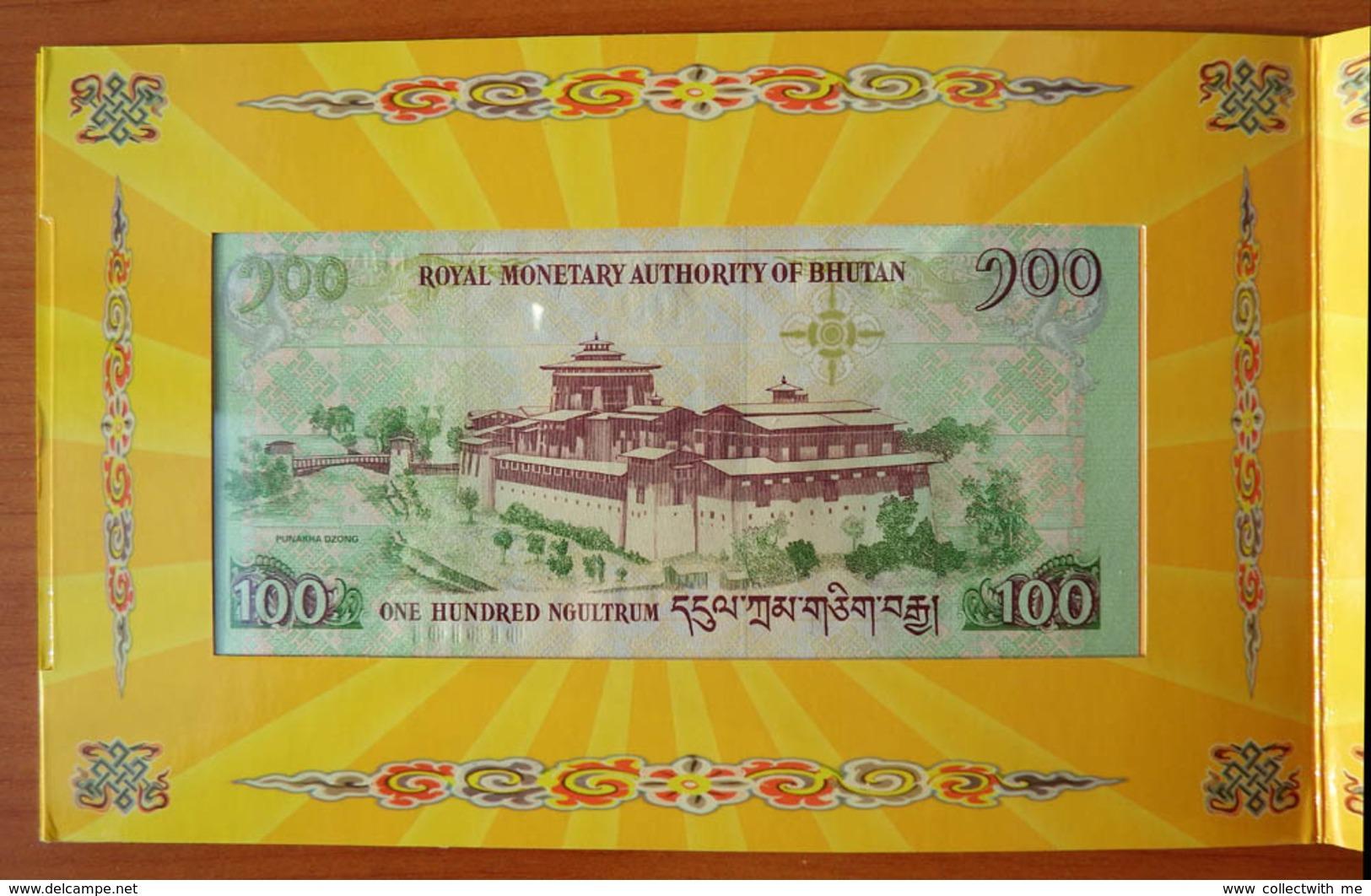 Bhutan 100 Ngultrum 2011 UNC Commemorative Note In Folder - Bhoutan