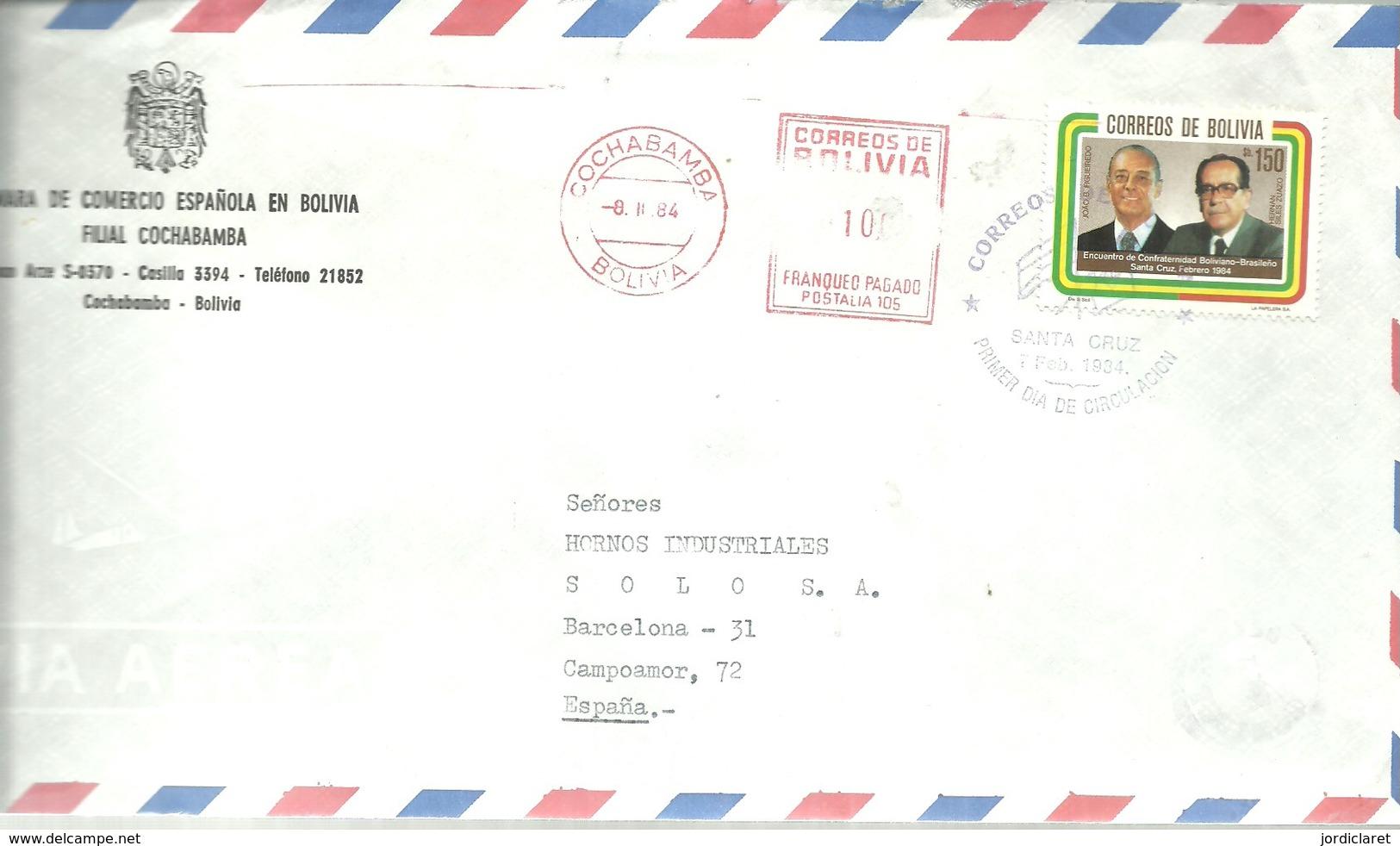 CARTA 1984 COCHABAMBA  CAMARA COMERCIO ESPAÑOLA - Bolivia