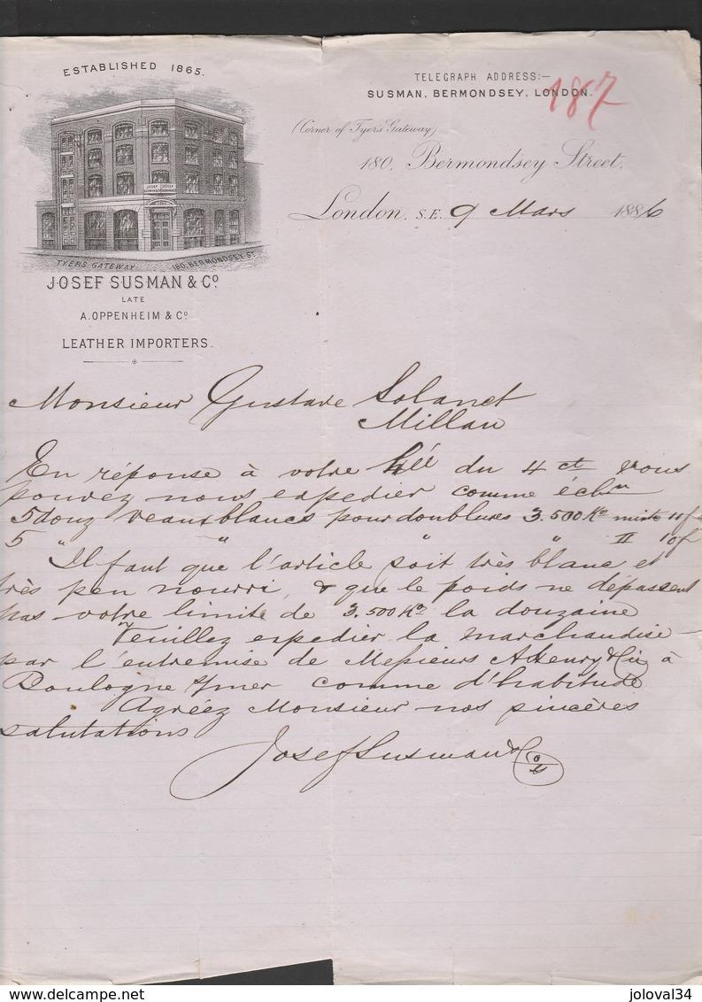 Royaume Uni Facture Lettre Illustrée 9/3/1886 Josef SUSMAN Leather Importers  LONDON à Lolanet Millau - Cuirs - Royaume-Uni