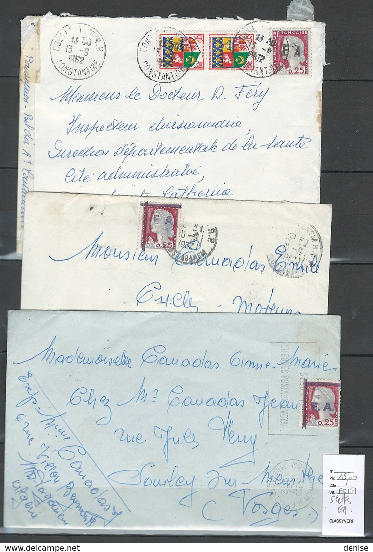 Algérie - Lot De 5 Lettres - Surchargés EA - Algeria (1924-1962)