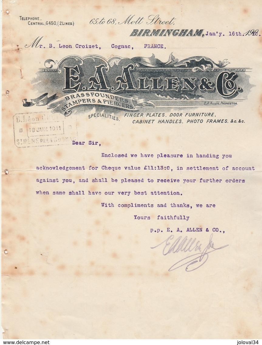 Royaume Uni Facture Lettre Illustrée 16/1/1910 E A ALLEN Brass Founders BIRMINGHAM - Fondeurs De Cuivre - Royaume-Uni