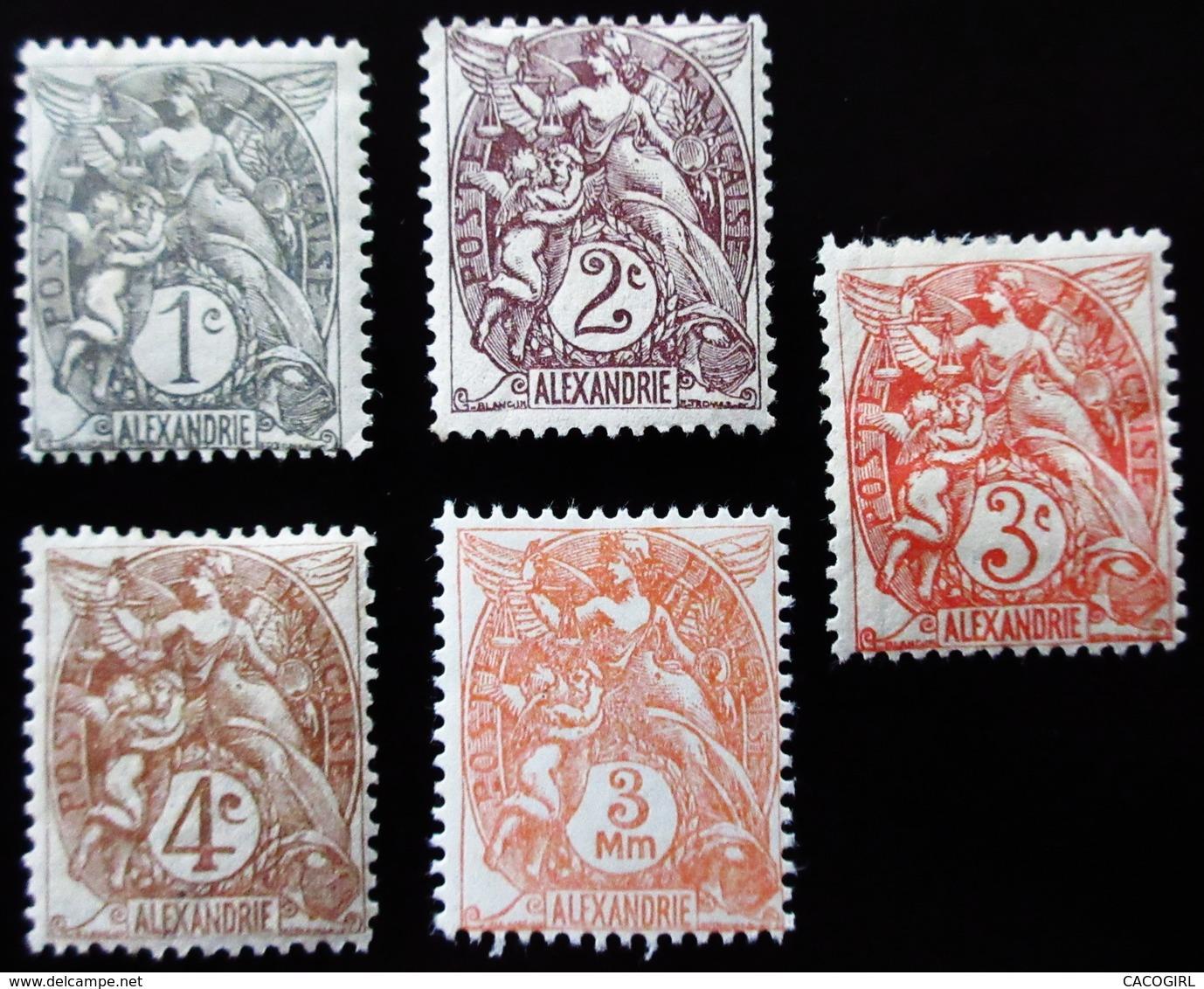 1902 Alexandrie Yt 19, 20, 21, 22, Type Blanc . Neufs Traces Charnières - Neufs
