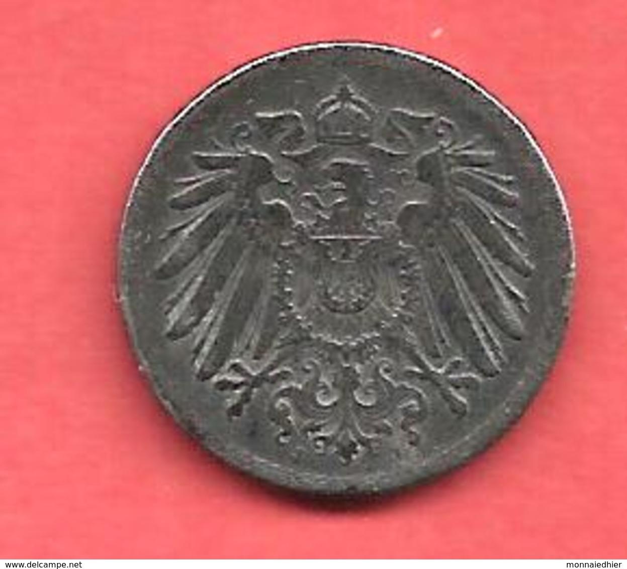 5 Pfennig , Empire D' ALLEMAGNE , Fer , 1917 J , N° KM # 19 - [ 2] 1871-1918 : Empire Allemand