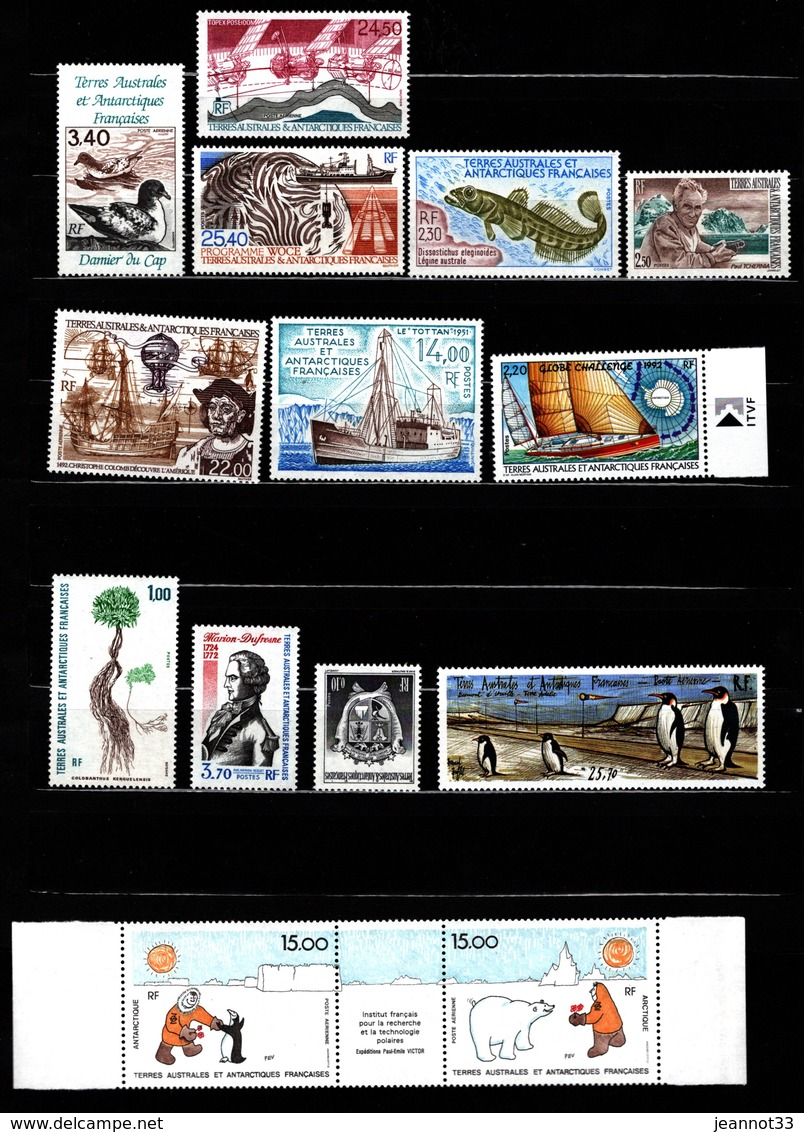 France - TAAF - ANNEE COMPLETE 1992 Timbres Ordinaires + Aérien Neufs MNH - Terres Australes Et Antarctiques Françaises (TAAF)