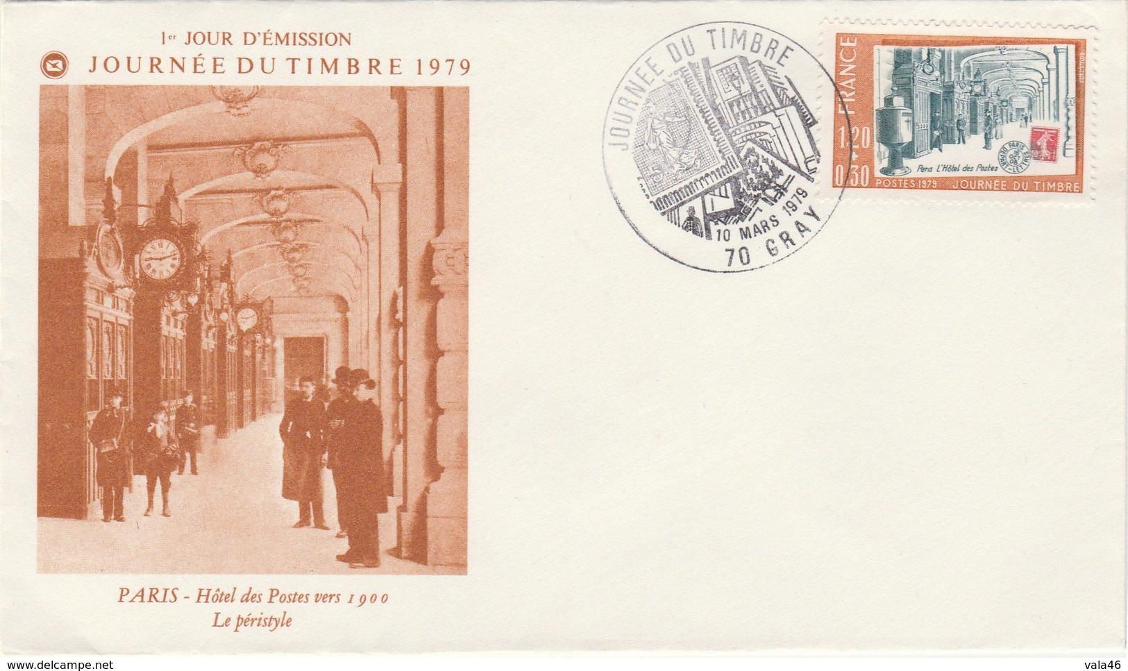 GRAY  70  HOTEL DES POSTES   N° 2037  - JOURNEE DU TIMBRE  MARS 1979  ENVELOPPE - Marcophilie (Lettres)