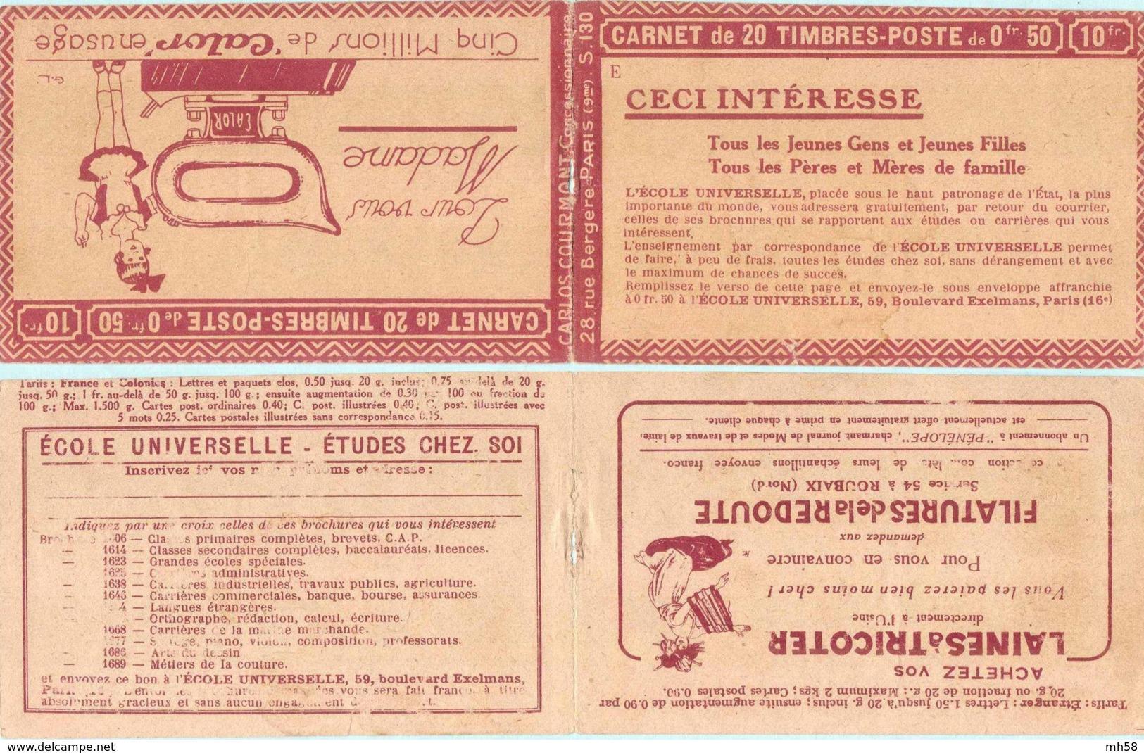 FRANCE - Carnet Série 130 E Couverture Vide Calor - 50c Semeuse Lignée Rouge I - YT 199 C… - Carnets