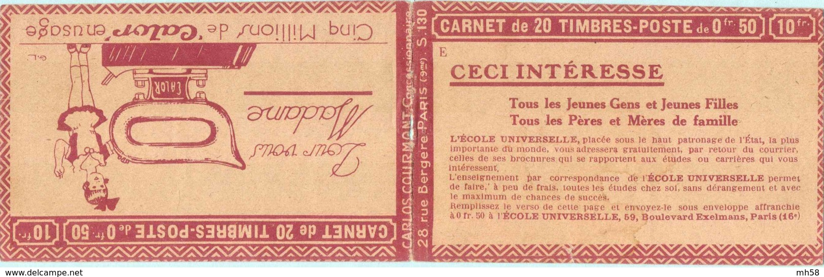 FRANCE - Carnet Série 130 E Couverture Vide Calor - 50c Semeuse Lignée Rouge I - YT 199 C… - Booklets