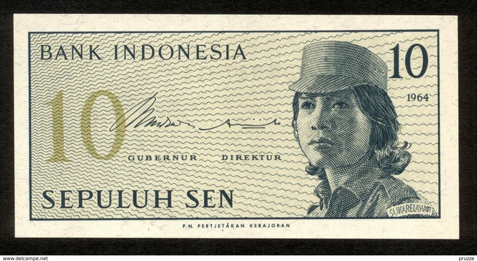 Indonesien 1964, 10 Sen - UNC, Kassenfrisch - Indonesien
