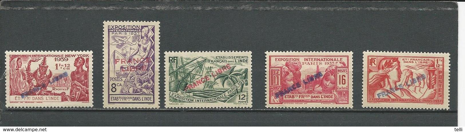 INDE FRANCAISE Scott 141, 135, 136, 137, 138 Yvert 157, 151, 152, 153, 154 (5) * Cote 31,50 $ 1941 - Inde (1892-1954)