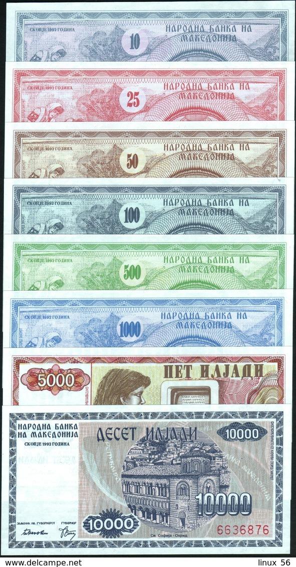 MACEDONIA - 10+25+50+100+500+1.000+5.000+10.000 Denari 1992 UNC P.1+2+3+4+5+6+7+8 - Macedonia