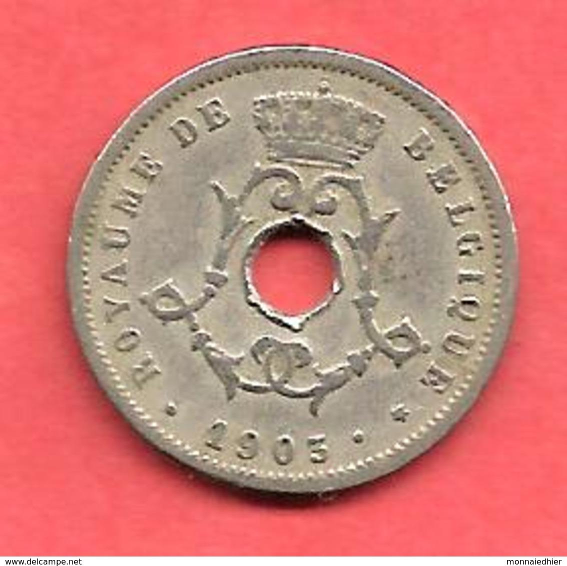 """5 Centimes , BELGIQUE , Cupro-Nickel , 1903 , """" ROYAUME DE BELGIQUE """" , N° KM # 46 - 1865-1909: Leopold II"""