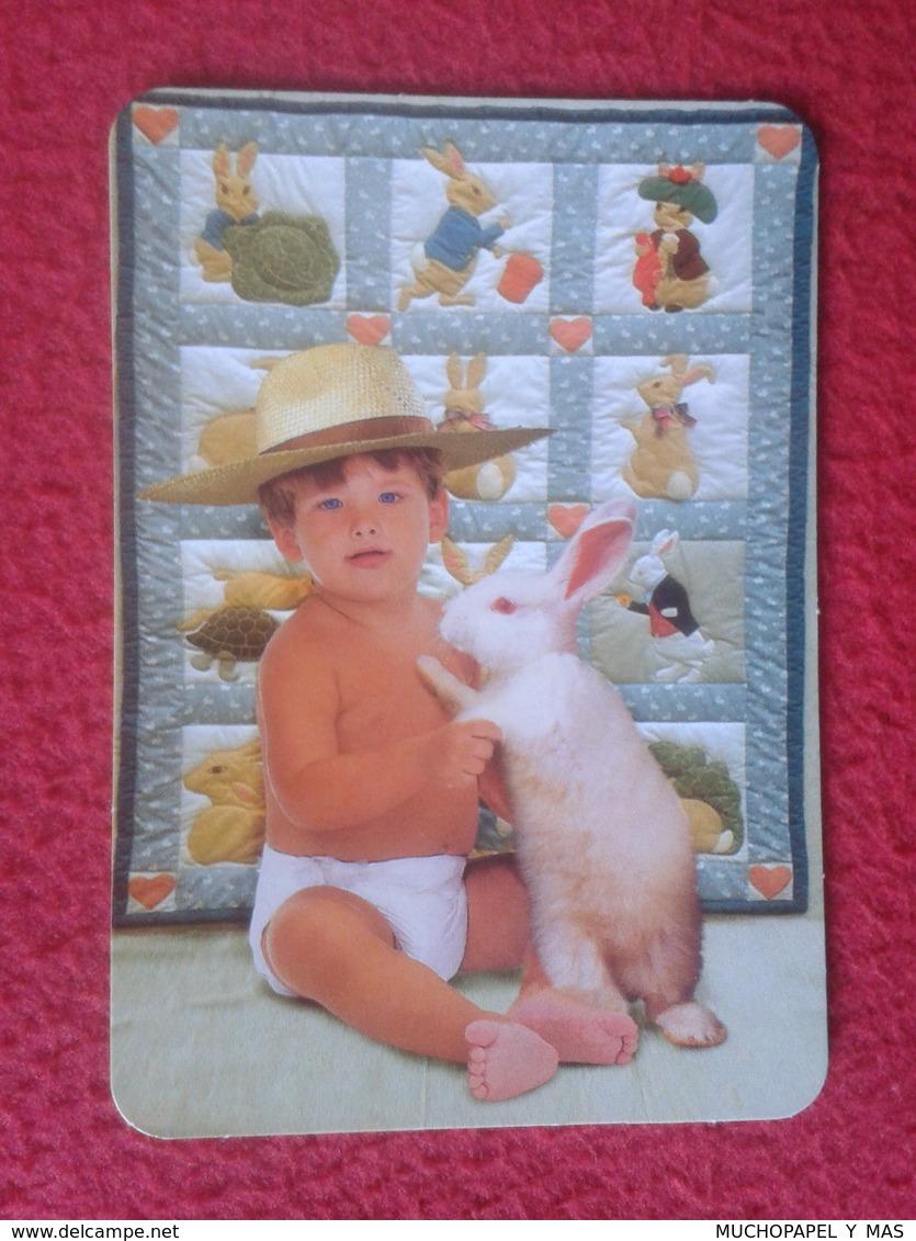 CALENDARIO DE BOLSILLO CALENDAR RABBIT LAPIN LIÈVRE HARE HASE LIEBRE CONEJO RABBITS CONEJOS NIÑO CON BOY WITH CHILD VER - Calendarios