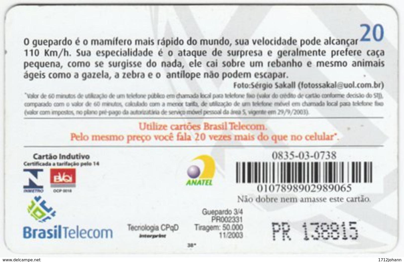 BRASIL G-780 Magnetic BrasilTelecom - Animal, Cat, Cheetah (Puzzle 2 Of 2) - Used - Brasilien