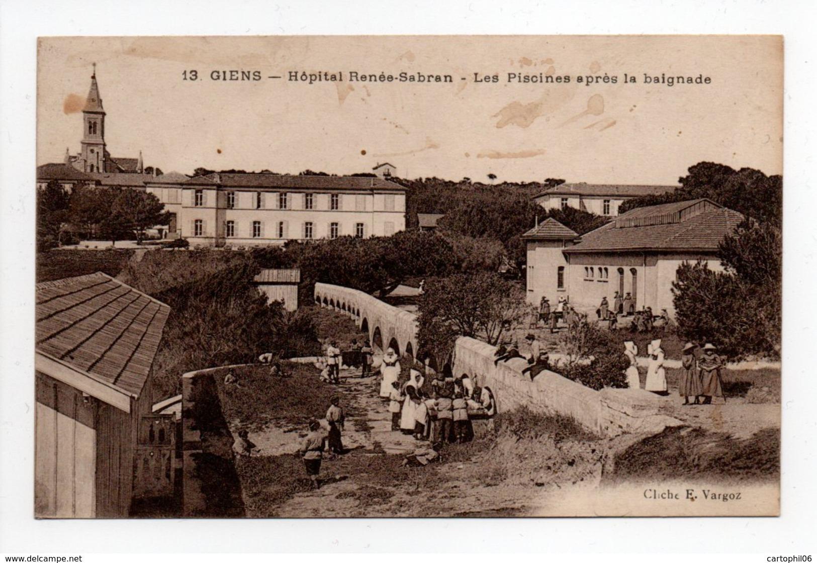- CPA GIENS (83) - Hôpital Renée-Sabran - Les Piscines Après La Baignade (belle Animation) - Cliché Vargoz N° 13 - - Hyeres