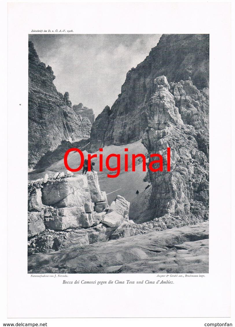 292-4 Brentagruppe Cima Tosa Bergsteiger Kunstblatt 1908  !! - Historische Dokumente