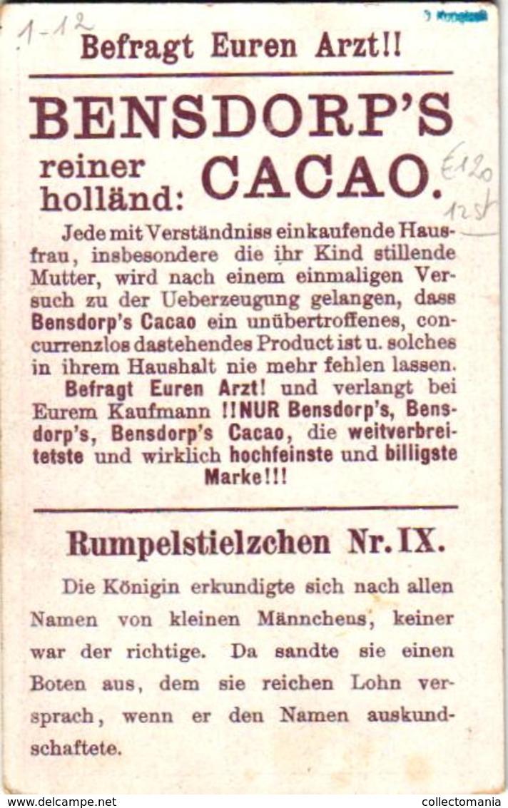 12 Cards C1888 Cacao Bensdorp's RUMPELstielzchen Repesteeltje  Fairy Tale  Sprookje, Voor Duitstaligen - Komplete Reeks - Other
