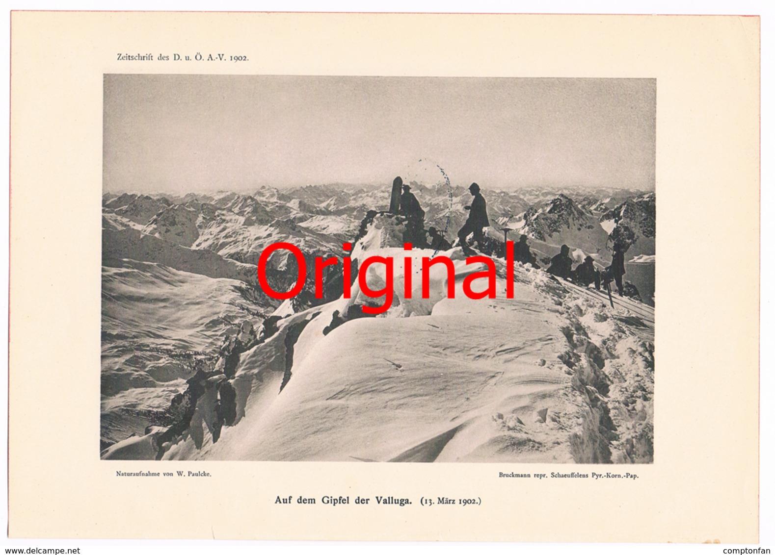 260 Valluga Bergsteiger Lechtaler Alpen Kunstblatt 1902 !! - Historische Dokumente