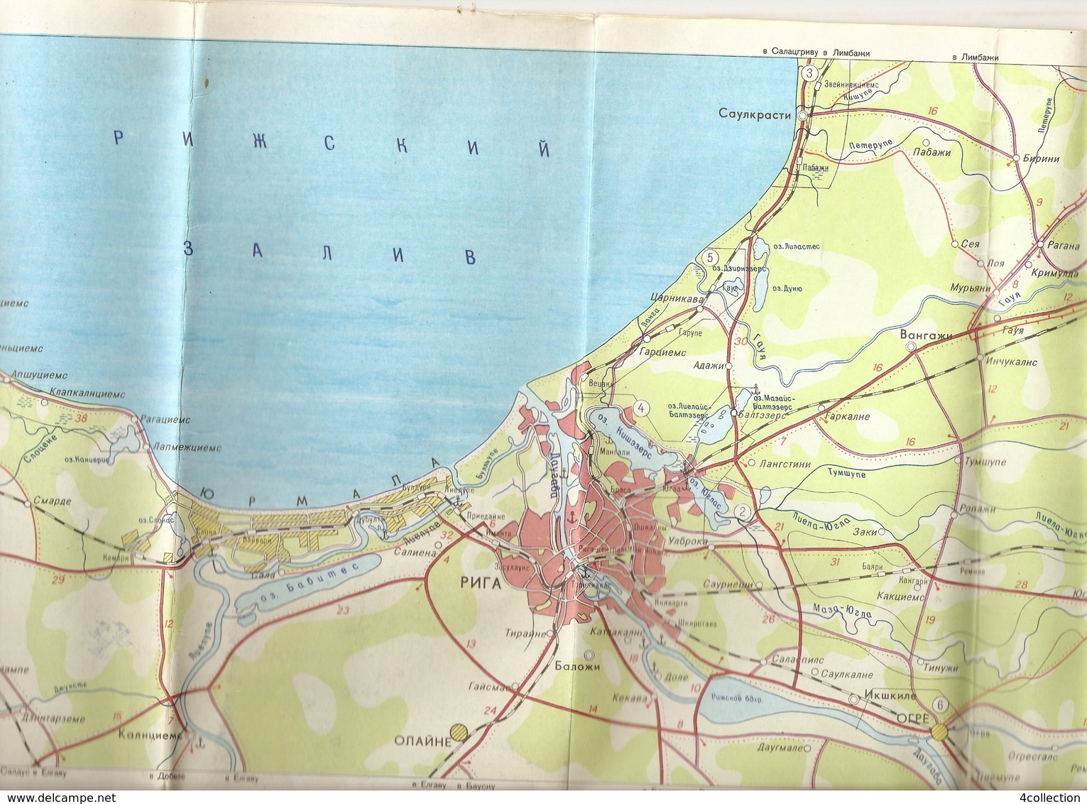 K. USSR Soviet Latvia Map Tourist Map - Scheme - Suburbs Of Riga And Jurmala - Weekedn Tourism 1980s - Geographical Maps