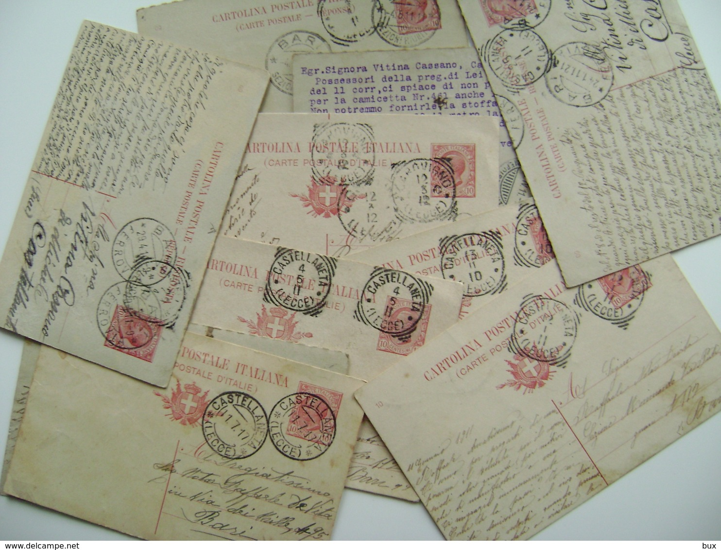 Lotto 10 Cartoline Postali  Primi 900 CORRISPONDENZA   Castellaneta  Provincia Di   Lecce - Francobolli (rappresentazioni)