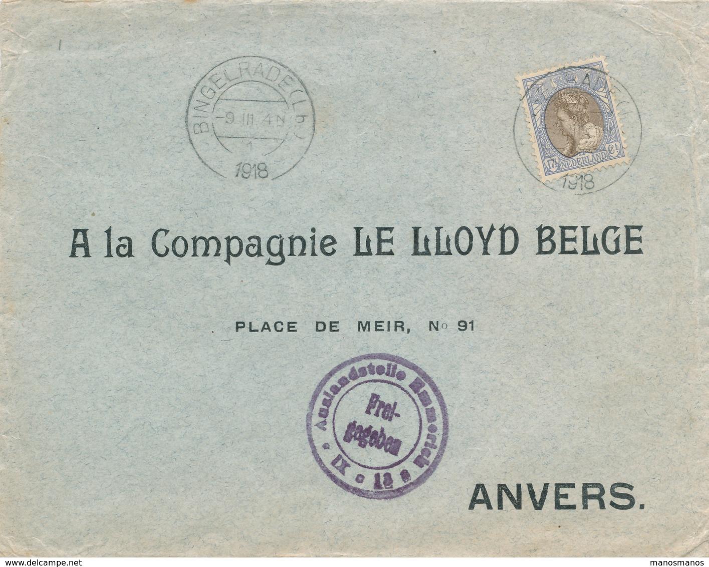 168/28 - Lettre TP Wilhelmina 17 1/2 Cent BINGELRADE 1918 Vers ANVERS - 90 Gld Op Brief - Censure Emmerich - 1891-1948 (Wilhelmine)