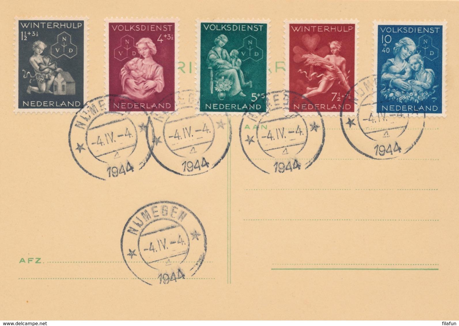 Nederland - 1944 - Winterhulpserie Op Kaart - Nijmegen 4-4-1944 - Geen Adres - Periode 1891-1948 (Wilhelmina)