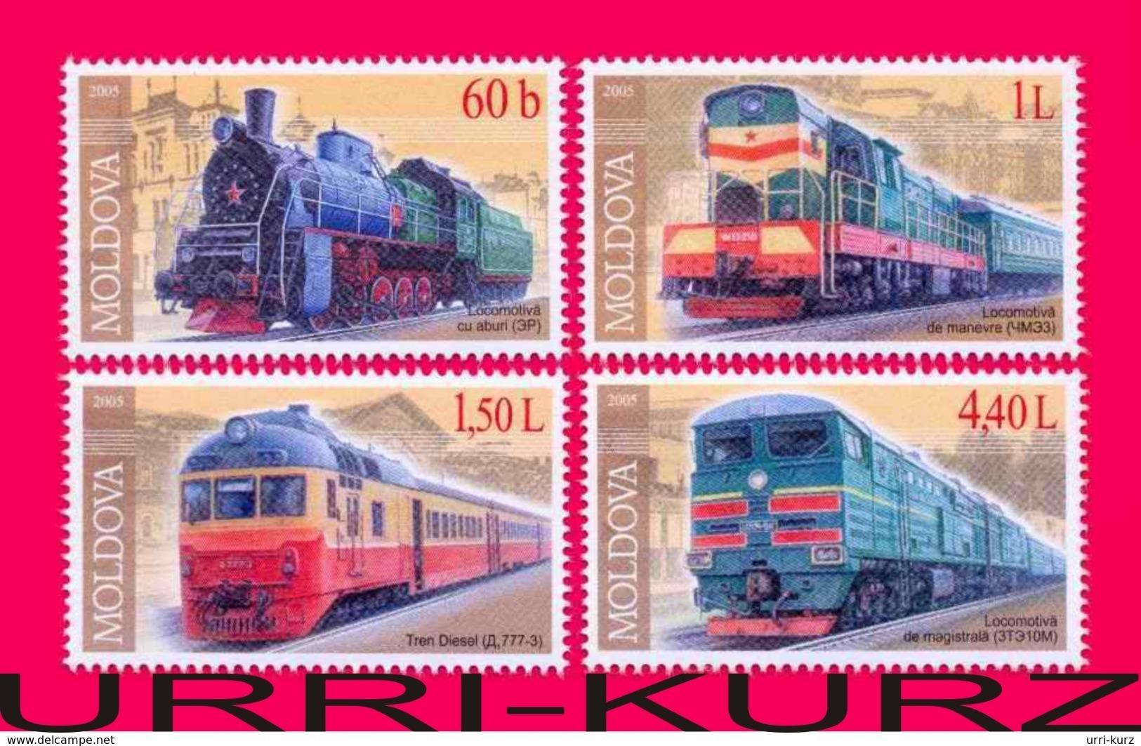 MOLDOVA 2005 Technics Railway Transport Train Trains Steam Locomotive Locomotives 4v Mi505-508 Sc484-487 MNH - Moldova