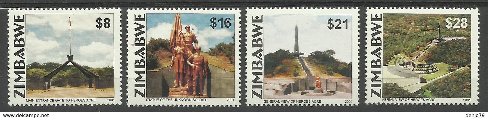 ZIMBABWE  2001  INDEPENDENCE ANNIVERSARY,HEROES ACRE SET MNH - Zimbabwe (1980-...)