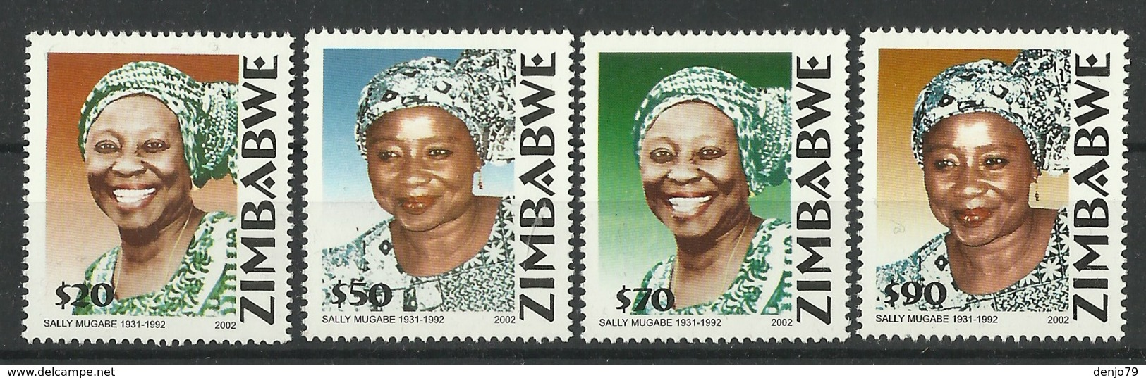 ZIMBABWE 2002 10th DEATH ANNIVERSARY OF SALLY MUGABE SET MNH - Zimbabwe (1980-...)