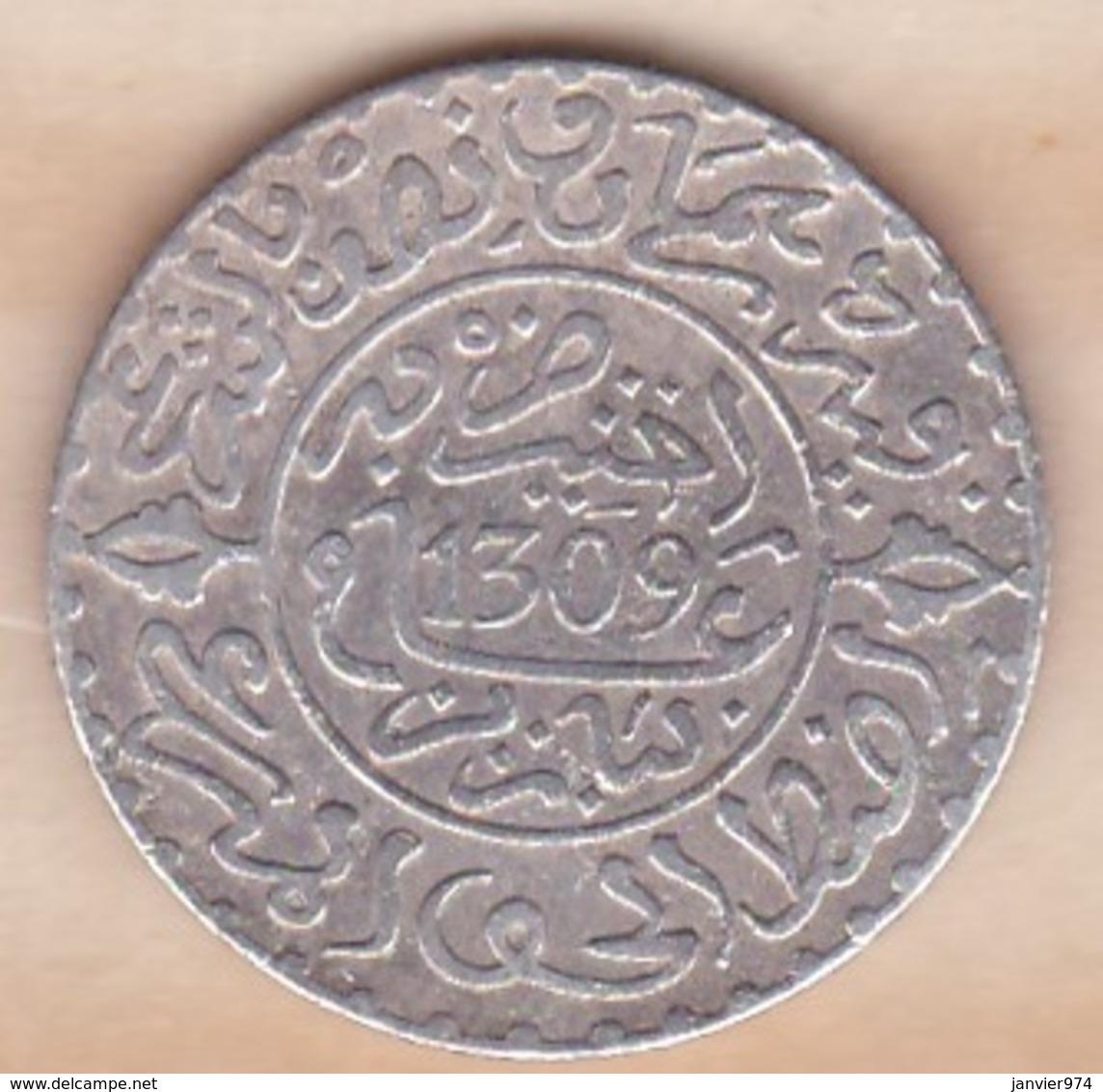 Maroc. 2 1/2 Dirhams (1/4 Rial) AH 1309 Paris. Hassan I , En Argent - Maroc