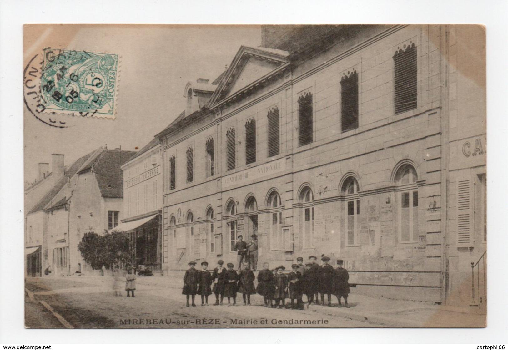 - CPA MIREBEAU-SUR-BÈZE (21) - Mairie Et Gendarmerie 1905 (belle Animation) - - Mirebeau