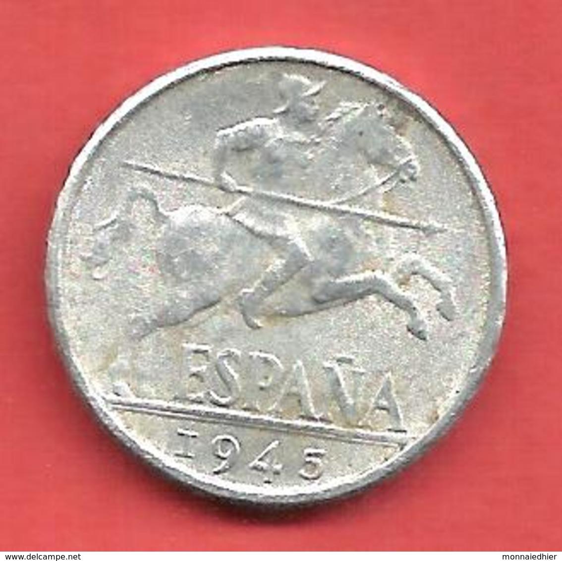 10 Centimos , ESPAGNE , Aluminium , 1945 , N° KM # 766 , N° Y111 - 10 Centimos