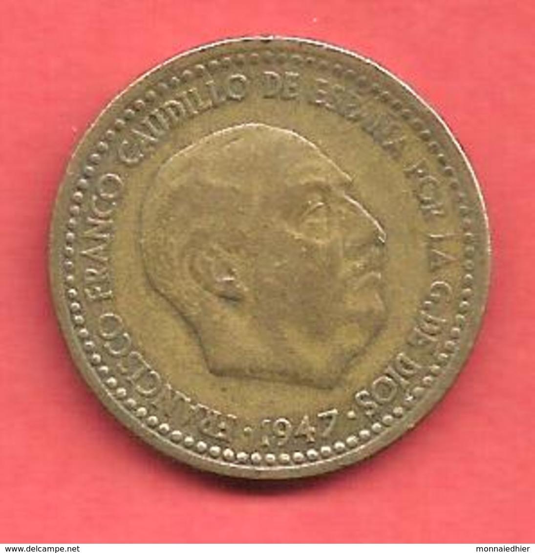 1 Peseta , ESPAGNE , Alu-Bronze , 1947 ( 51 ) , N° KM # 775 , N° Y113 - [ 4] 1939-1947 : Gouv. Nationaliste