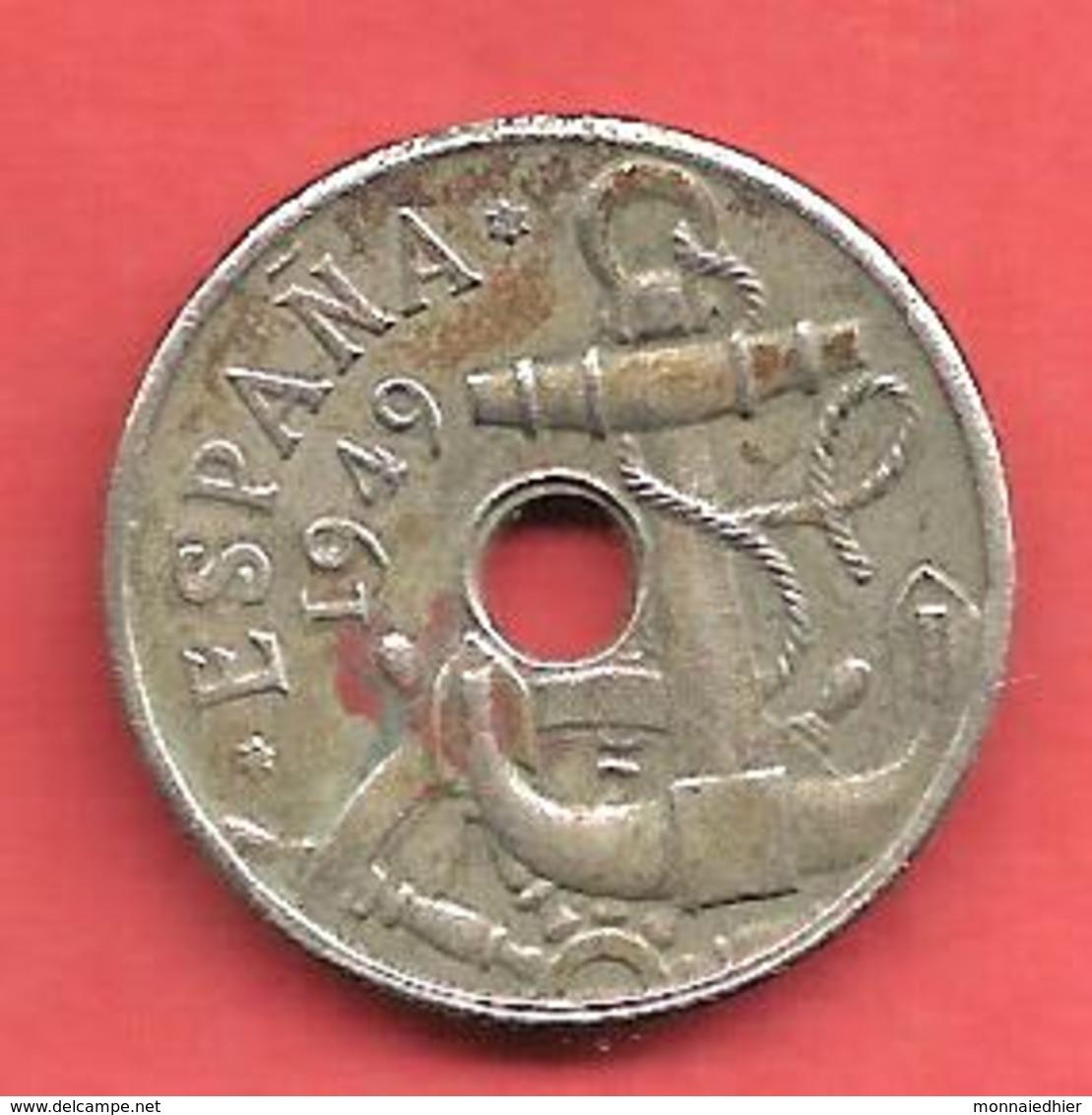 50 Centimos , ESPAGNE , Cupro-Nickel , 1949 ( 51 ) , N° KM # 777 , N° Y116 - [ 5] 1949-… : Royaume