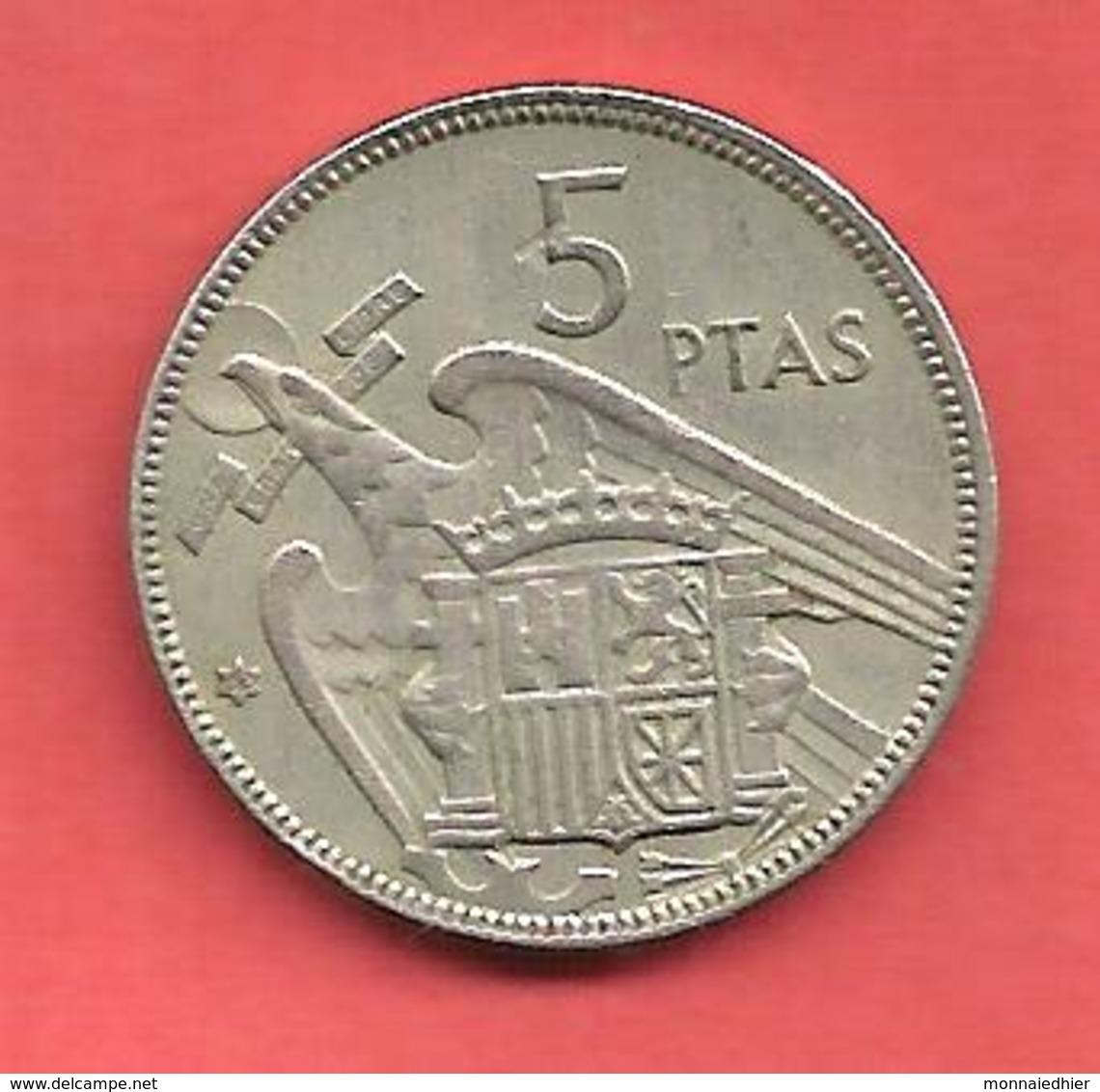 5 Pesetas , ESPAGNE , Cupro-Nickel , 1957 ( 62 ) , N° KM # 786 , N° Y118 - [ 5] 1949-… : Royaume