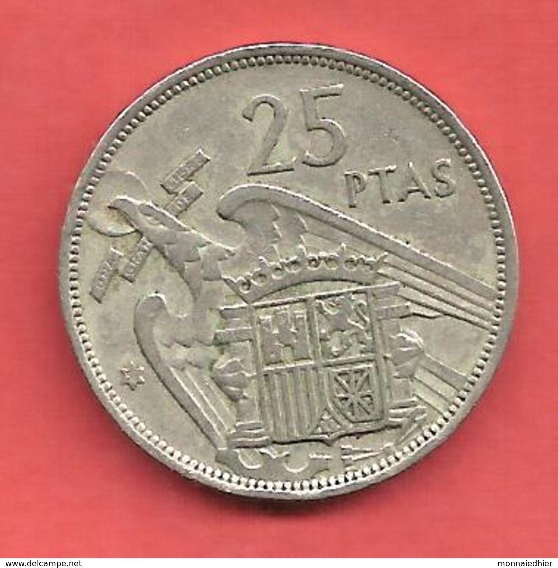 25 Pesetas , ESPAGNE , Cupro-Nickel , 1957 ( 58 ) , N° KM # 787 , N° Y119 - [ 5] 1949-… : Royaume
