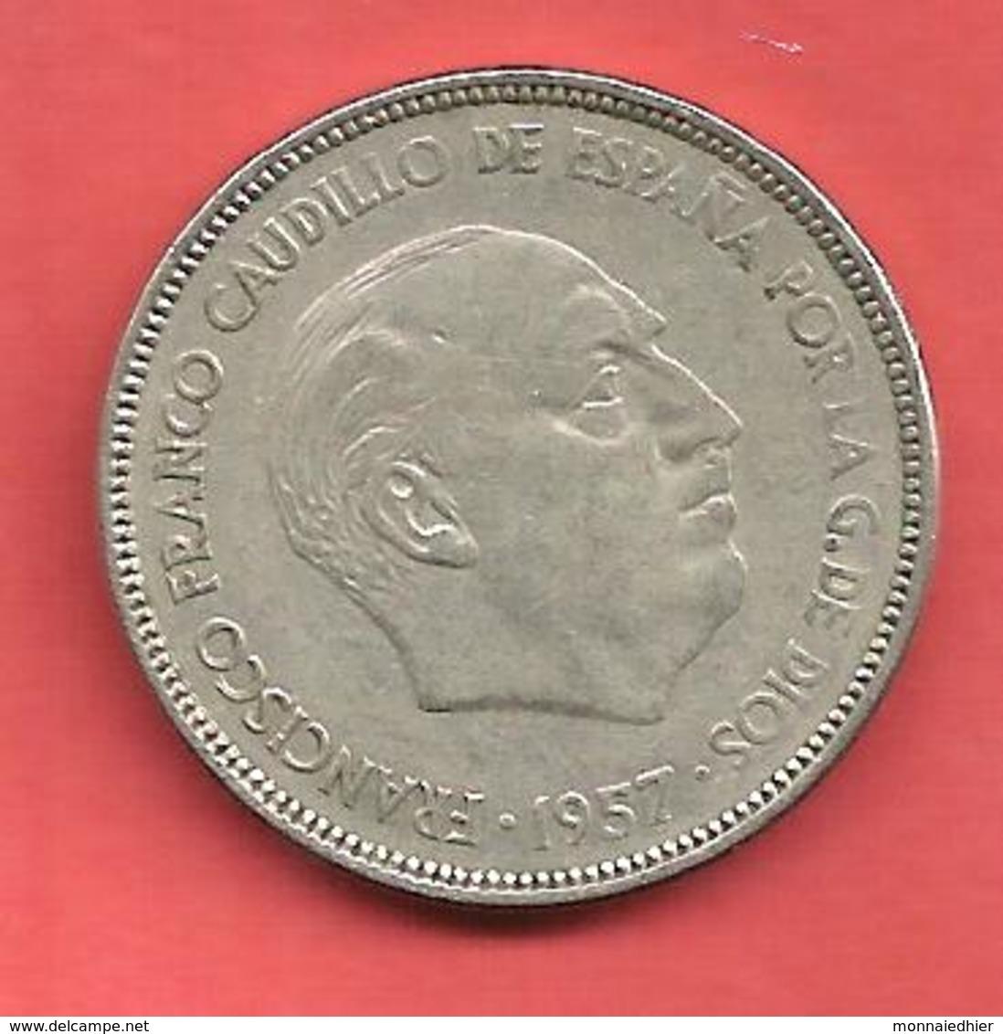 25 Pesetas , ESPAGNE , Cupro-Nickel , 1957 ( 64 ) , N° KM # 787 , N° Y119 - 25 Pesetas