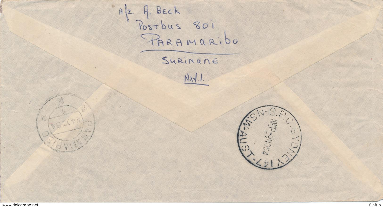 Nederland - 1954 - Pijper, Berlage En Van Gogh Op Speciale KLM Vlucht Amsterdam - Sydney En Retour Naar Paramaribo - 1949-1980 (Juliana)