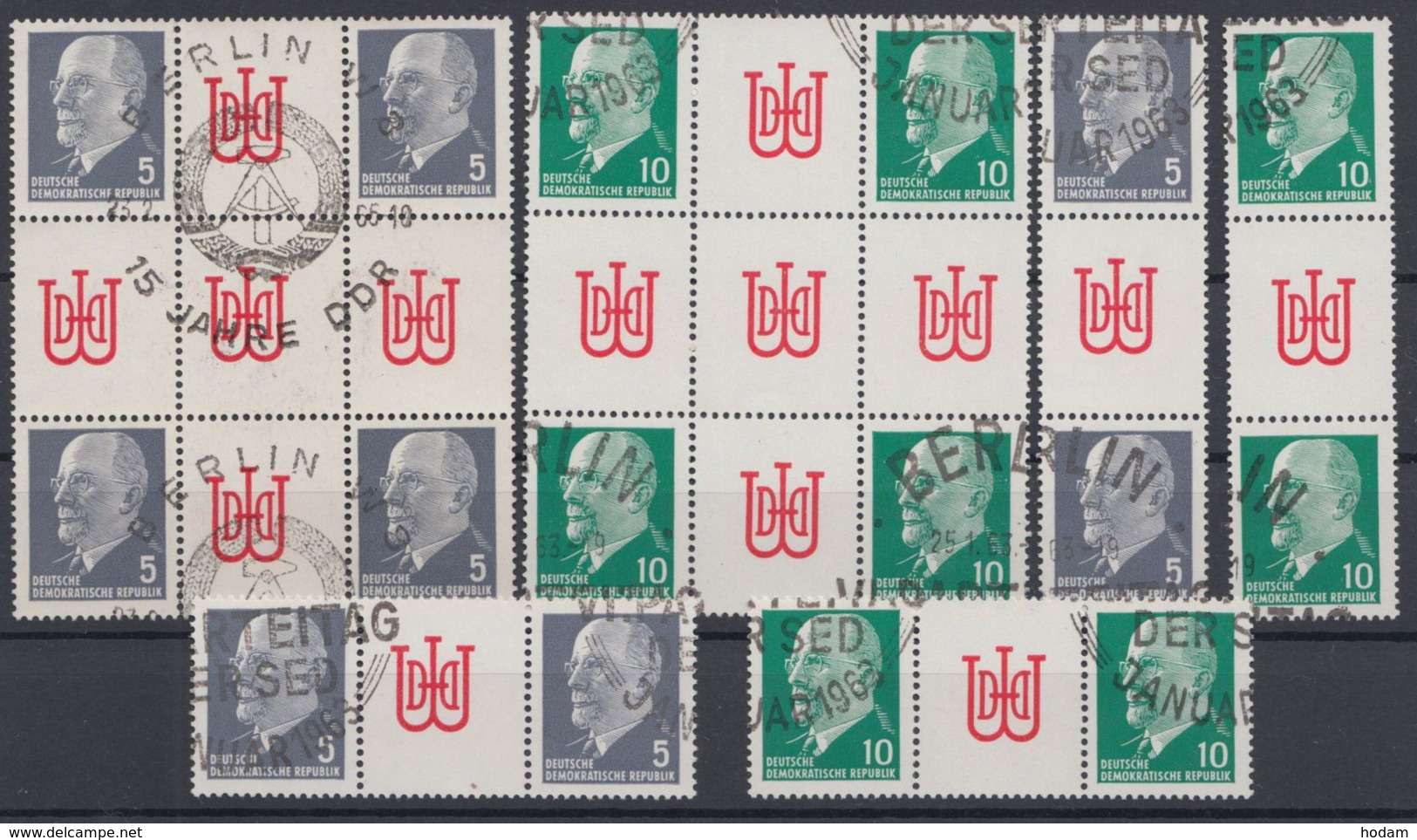 """845/6 """"Ulbricht"""", Alle 4 ZD Und Herzstücke Aus MHB 10/11, Gestempelt - DDR"""
