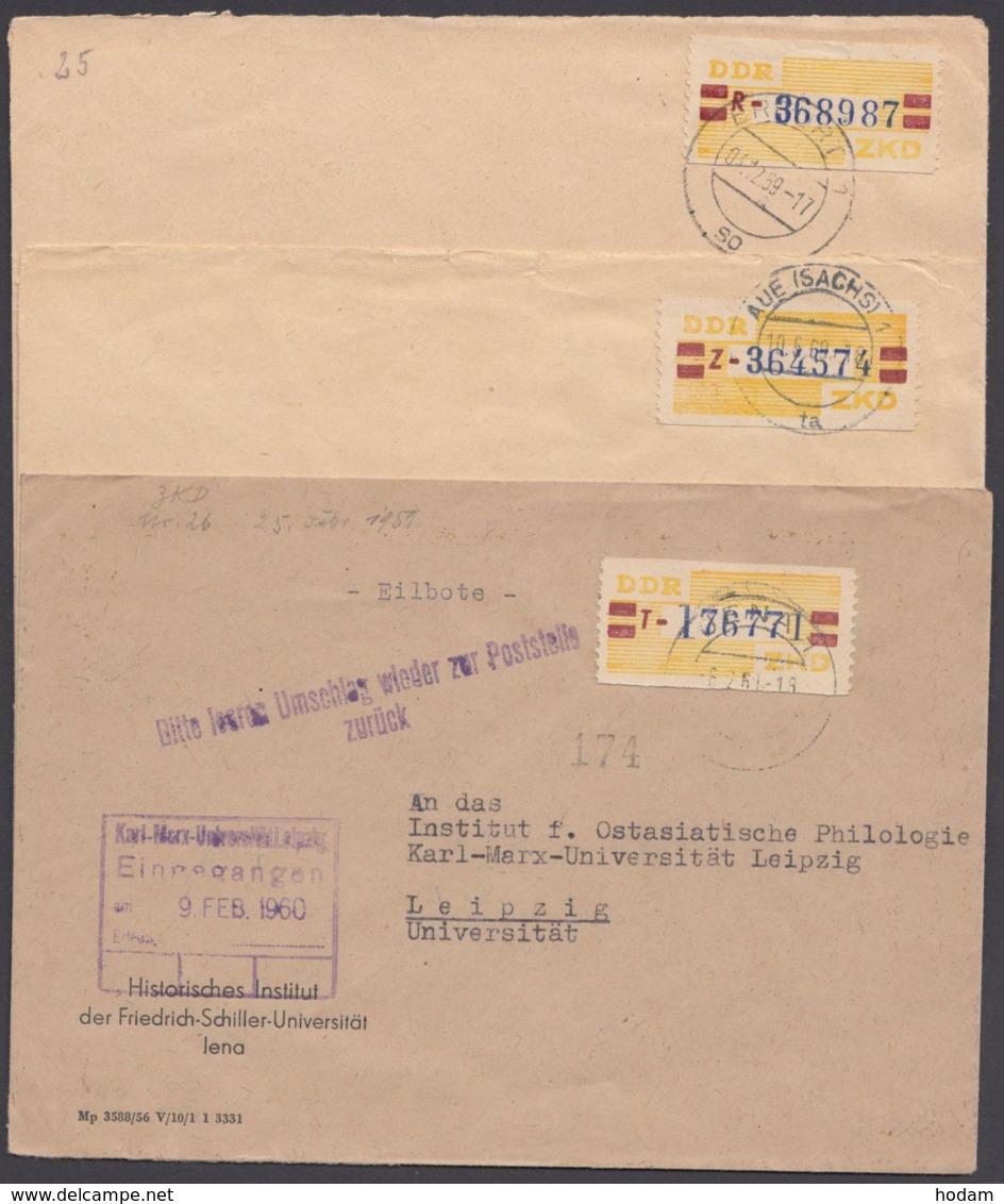 """ZKD : 25 R,T,Z, 3 Saubere Bedarfsbelege, 1x L2 """"zur Poststelle Zurück"""" - Dienstpost"""