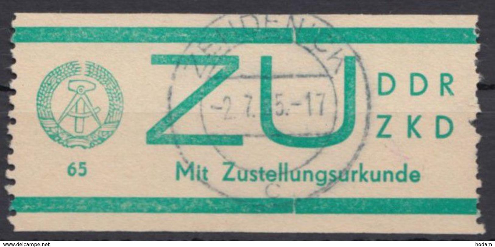 """ZKD : ZU 1, Bedarfsstück, Zentr. """"Zehdenick"""", 2.7.65 - Dienstpost"""