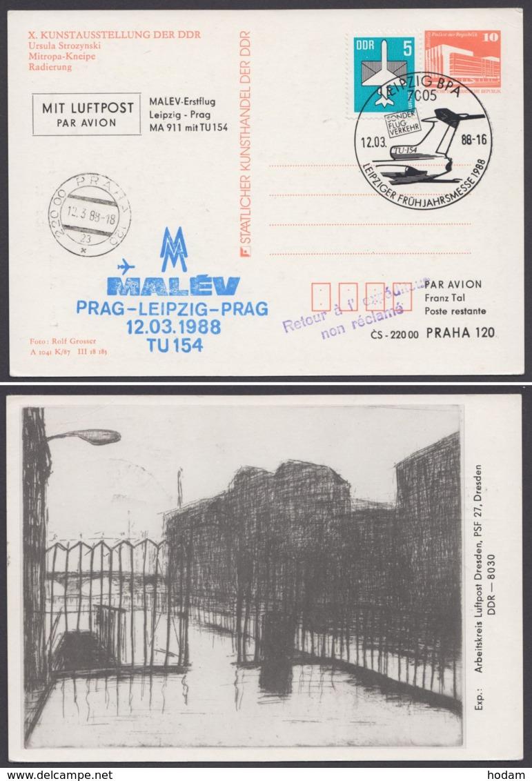 """PP 18 Mit Zudruck """"Malev-Erstflug"""", 1988, Alle Stempel - DDR"""