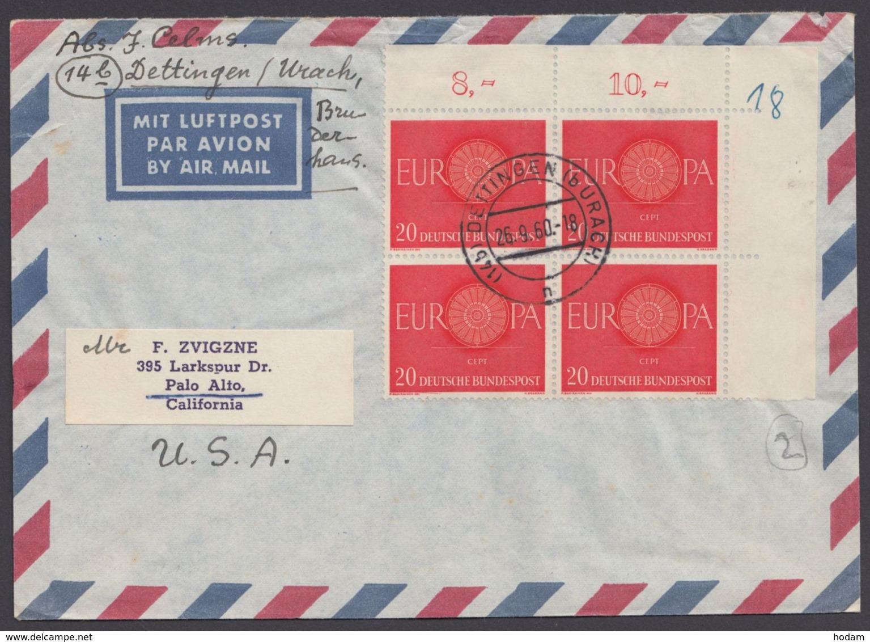 338, ER-4er Block Als MeF Auf Luftpost In Die USA - BRD