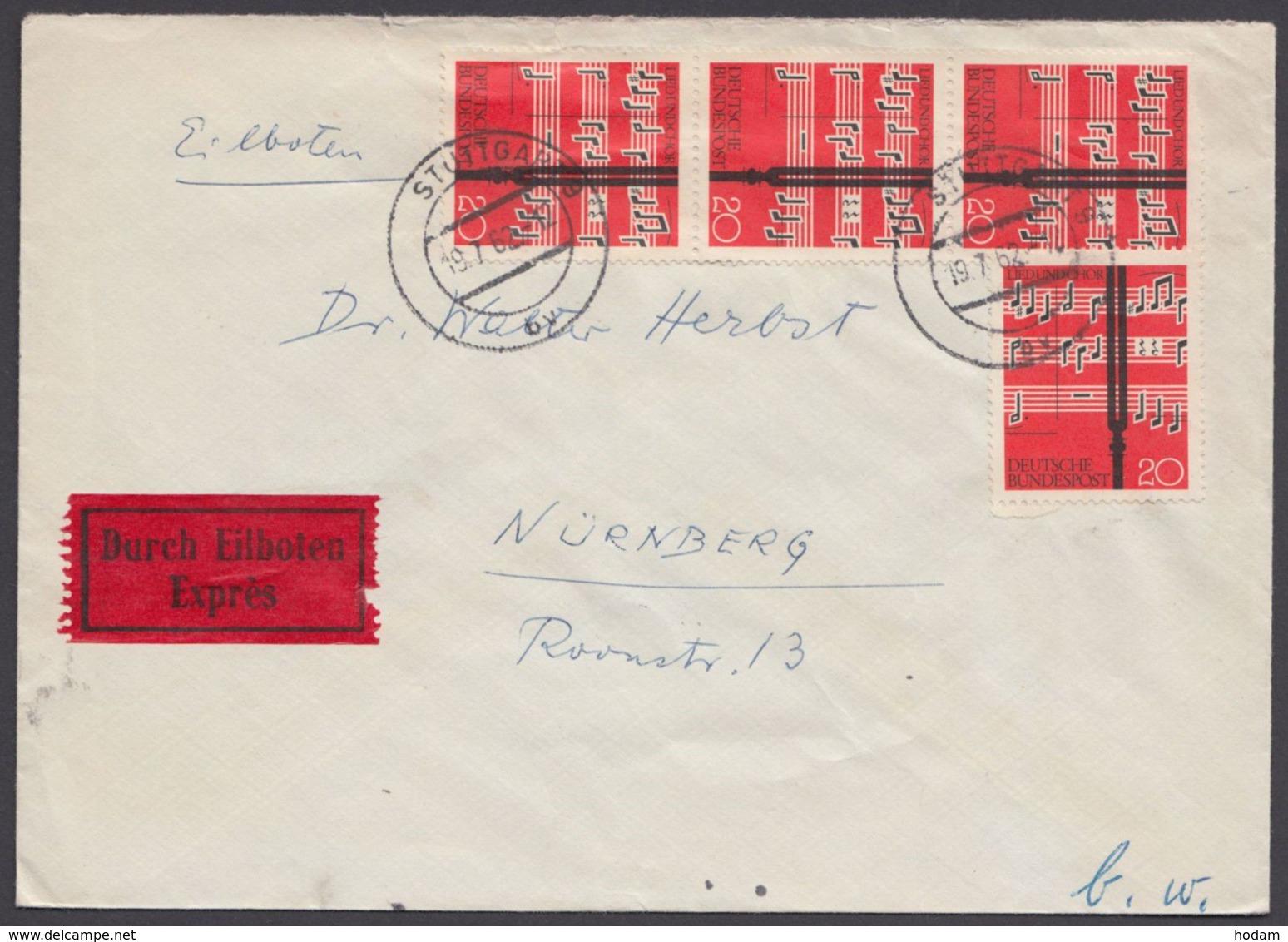380, MeF Mit 4 Werten, Bedarfs-Eilboten, 1962 - Briefe U. Dokumente