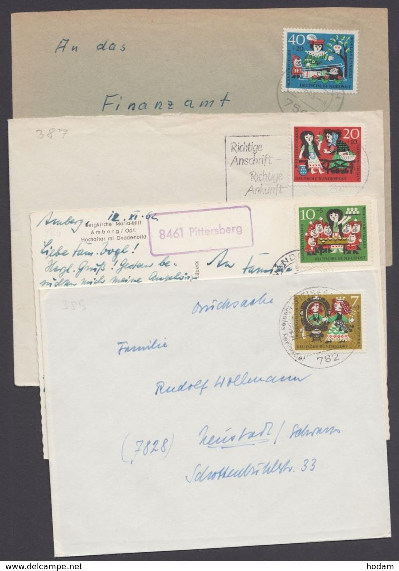 """385/8 """"Wohlfahrt"""", 1962, Je Als EF Auf 4 Belegen - Briefe U. Dokumente"""