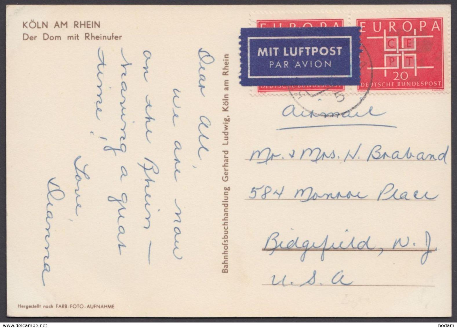 407, MeF Mit 2 Werte, Bedarfs-Luftpost-AK In Die USA - Briefe U. Dokumente