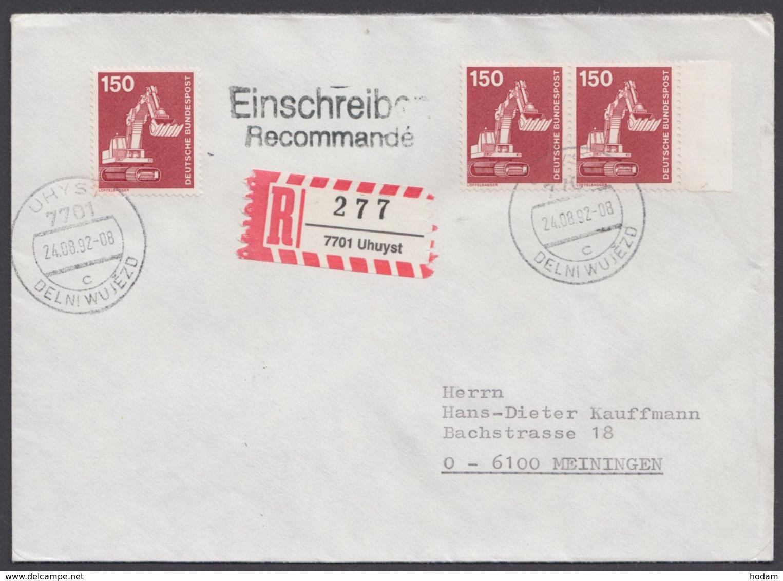 """992, MeF Mit 3 Werten, R-Brief """"Uhyst"""", Dt./sorb. Stempel, R-Zettel Falsche Schreibweise """"Uhuyst"""" - BRD"""