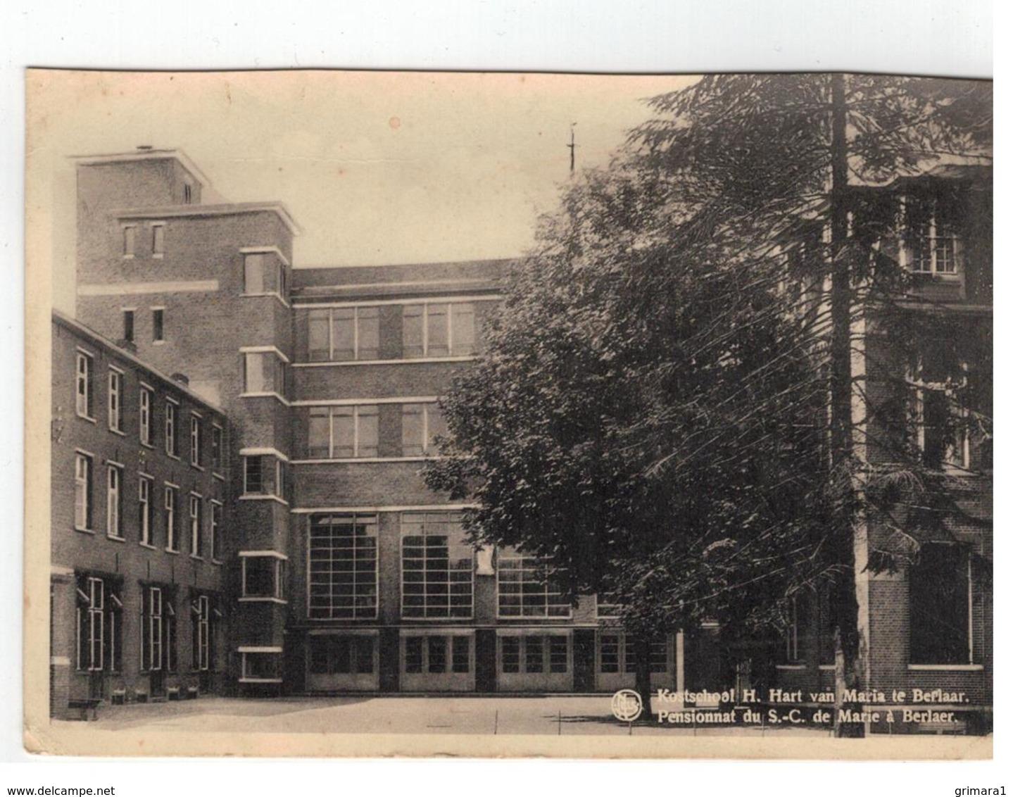 Berlaar: Kostschool H.Hart Van Maria Te Berlaar   Pensionat Du S.-C. De Marie à Berlaer 2 Kaarten - Berlaar