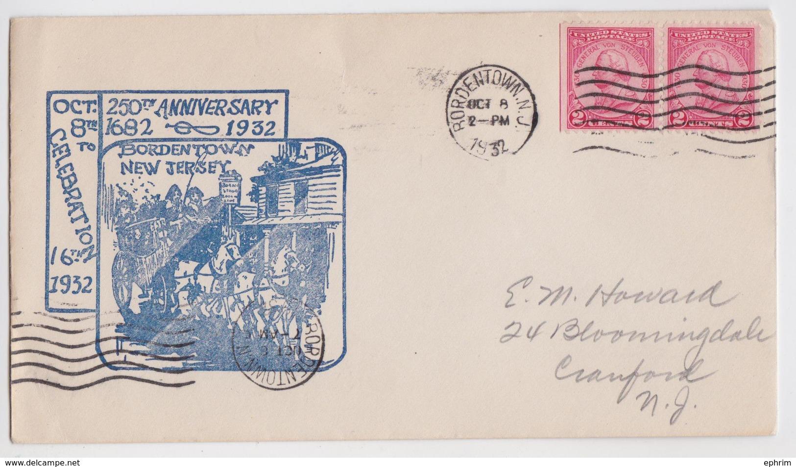 BORDENTOWN NEW JERSEY DILIGENCE COMMEMORATIVE COVER 1932 TO CRANFORD - Enveloppes évenementielles