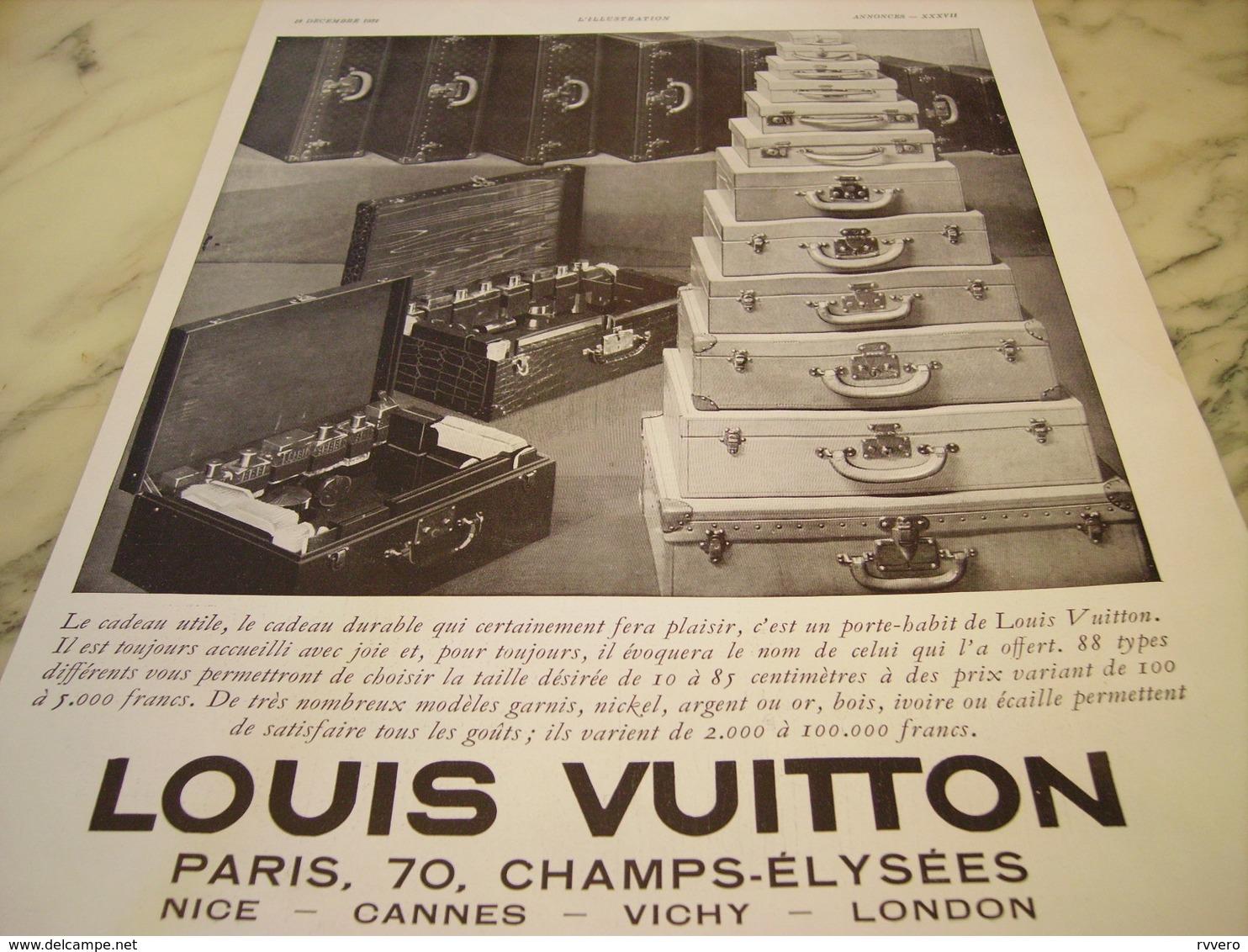 ANCIENNE PUBLICITE VALISE  LOUIS VUITTON  1931 - Habits & Linge D'époque